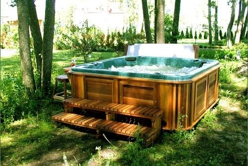 arctic spas hot tub under trees