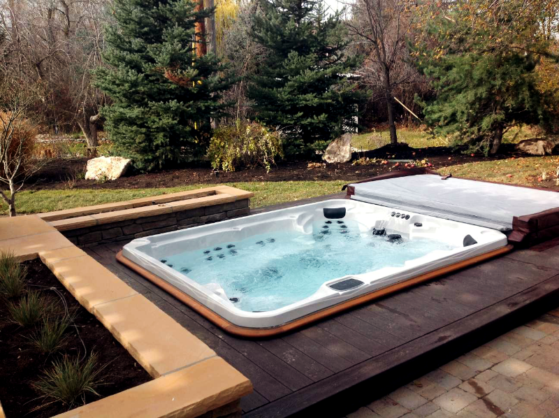arctic spas hot tub in pool deck