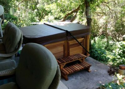 Arctic Spas hot tub in red cedar cabinet under the trees