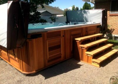 Arcticspas all weather pool with stairs in the backyard